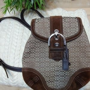 Coach Soho brown draw string flap/ backpack